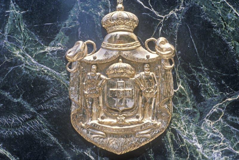 Guld- vapensköld som symboliserar rikedom, Beverly Hills California arkivfoton