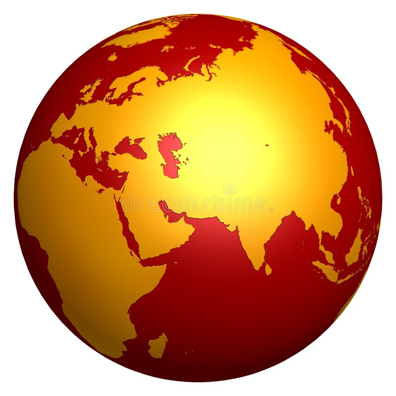 guld- varmt för jordklot stock illustrationer