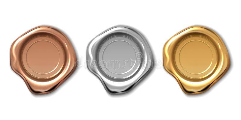 Guld- vaxstämpel Realistisk bokstavsetikett, medeltida certifikatskyddsremsa för kunglig person 3d, kvalitets- garanterad logo  stock illustrationer