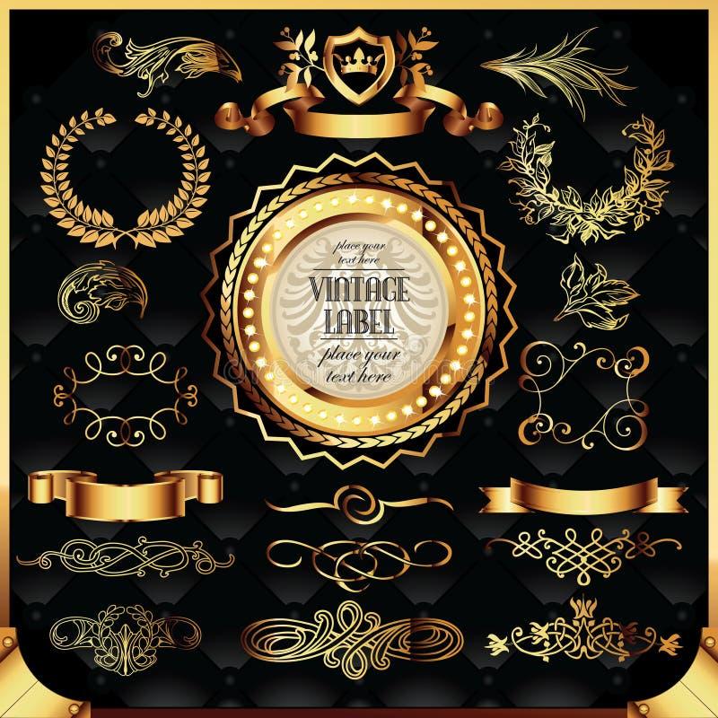 guld- vektor för etikettset royaltyfria bilder