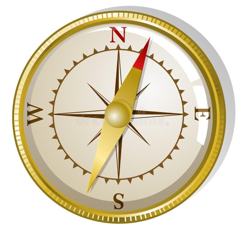 guld- vektor för kompass royaltyfri illustrationer