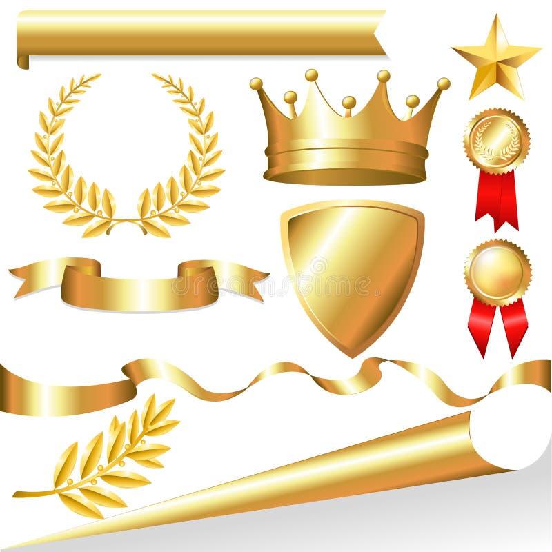 guld- vektor för samling royaltyfri illustrationer