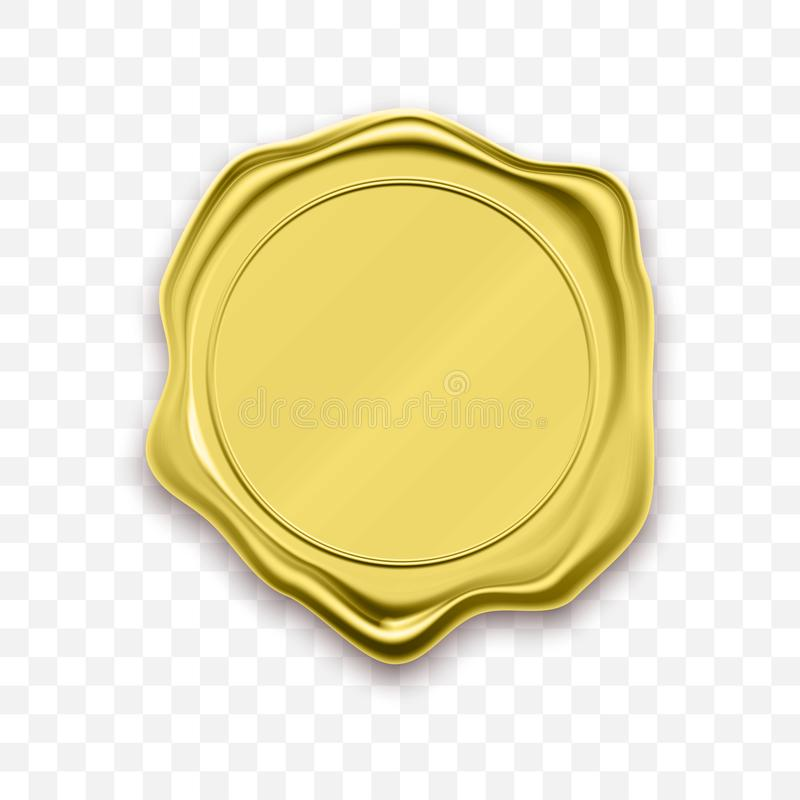 Guld- vektor för stämpelvaxskyddsremsa som förseglar den retro etiketten vektor illustrationer