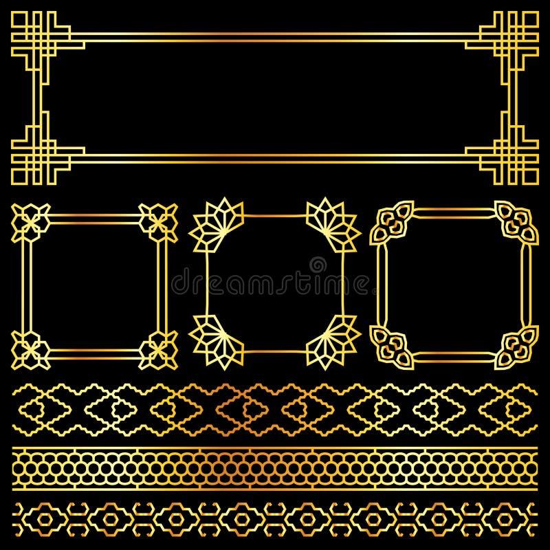 Guld- vektorasiat, korean, kines, japanska retro ramar vektor illustrationer