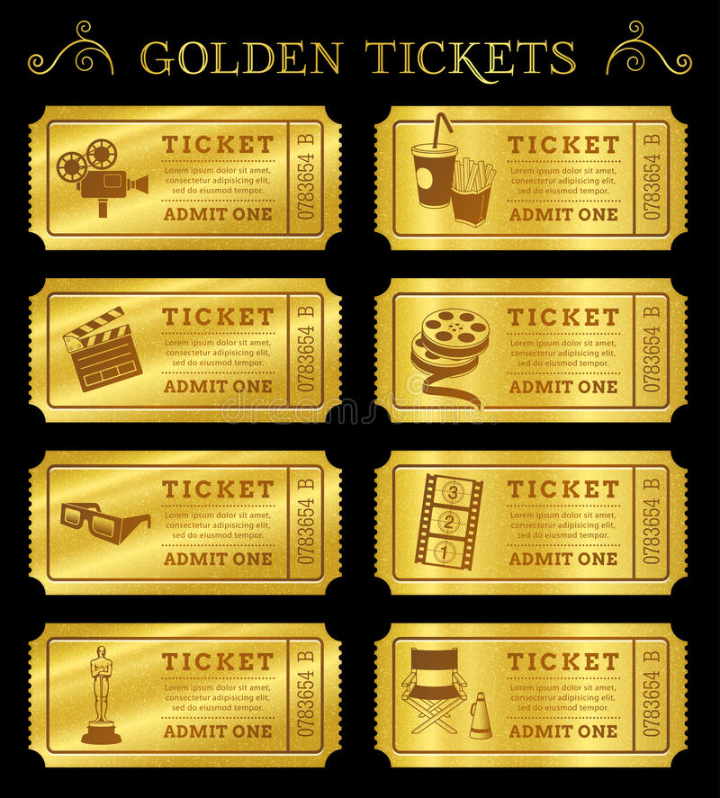 Guld- vektorbiobiljetter royaltyfri illustrationer