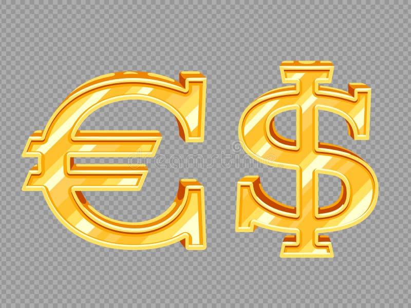 Guld- vektordollar- och eurotecken som isoleras på genomskinlig bakgrund vektor illustrationer