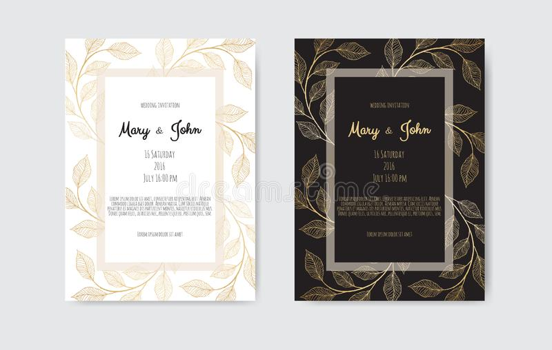 Guld- vektorinbjudan med blom- best?ndsdelar Lyxig prydnadmall h?lsningkort, inbjudandesignbakgrund royaltyfri illustrationer