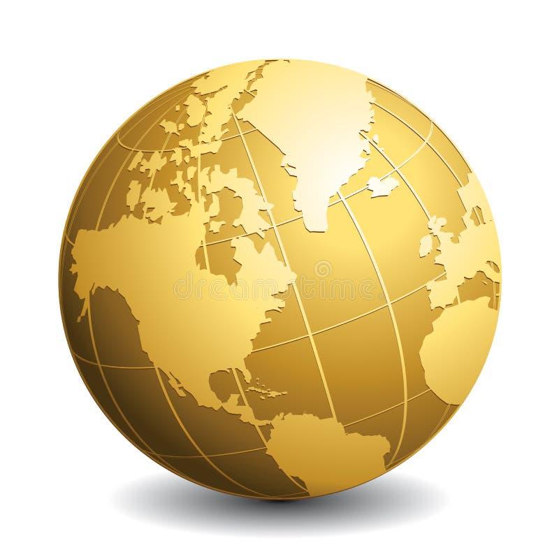 Guld- vektorjordklot Glansig jordaffärsidésymbol stock illustrationer