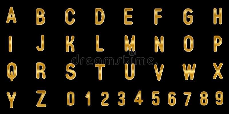 Guld- versalar och nummer på svart bakgrund illustration 3d vektor illustrationer