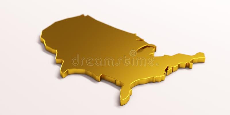 Guld- ?versikt f?r USA F?renta staterna illustrationen 3d framf?r royaltyfri illustrationer