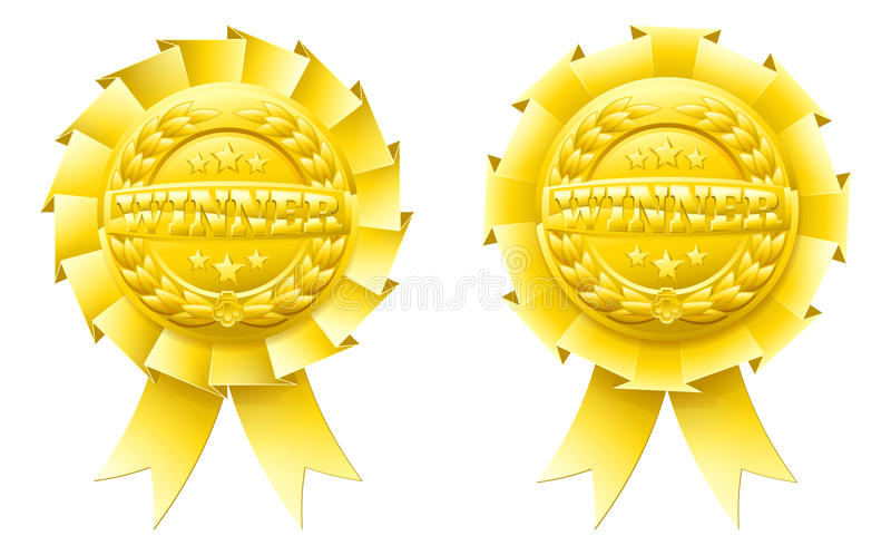 Guld- vinnarerosettes stock illustrationer