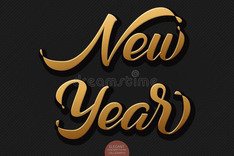 Guld- volymetrisk handskriven bokstäver för nytt år för hälsningkort Vektorferiedesign på svart bakgrund moderiktigt royaltyfri illustrationer