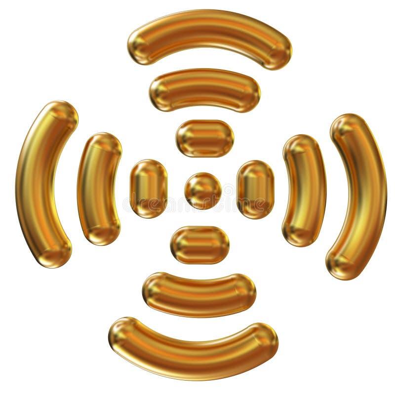 Guld- wifisymbol vektor illustrationer