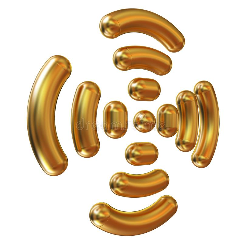 Guld- wifisymbol royaltyfri illustrationer