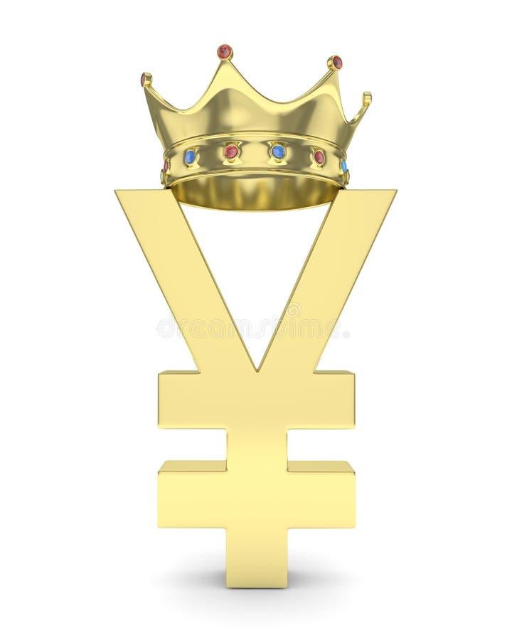 Guld- yenyuantecken med kronan framförande 3d stock illustrationer