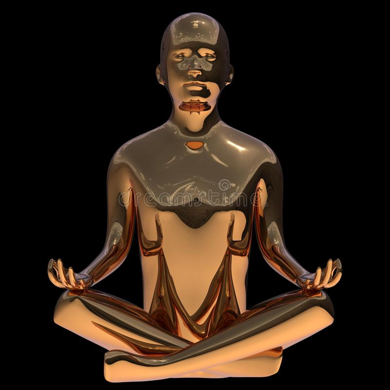 Guld- yogalotusblomma poserar mannen det polerade stiliserade diagramet Mänskligt järn vektor illustrationer