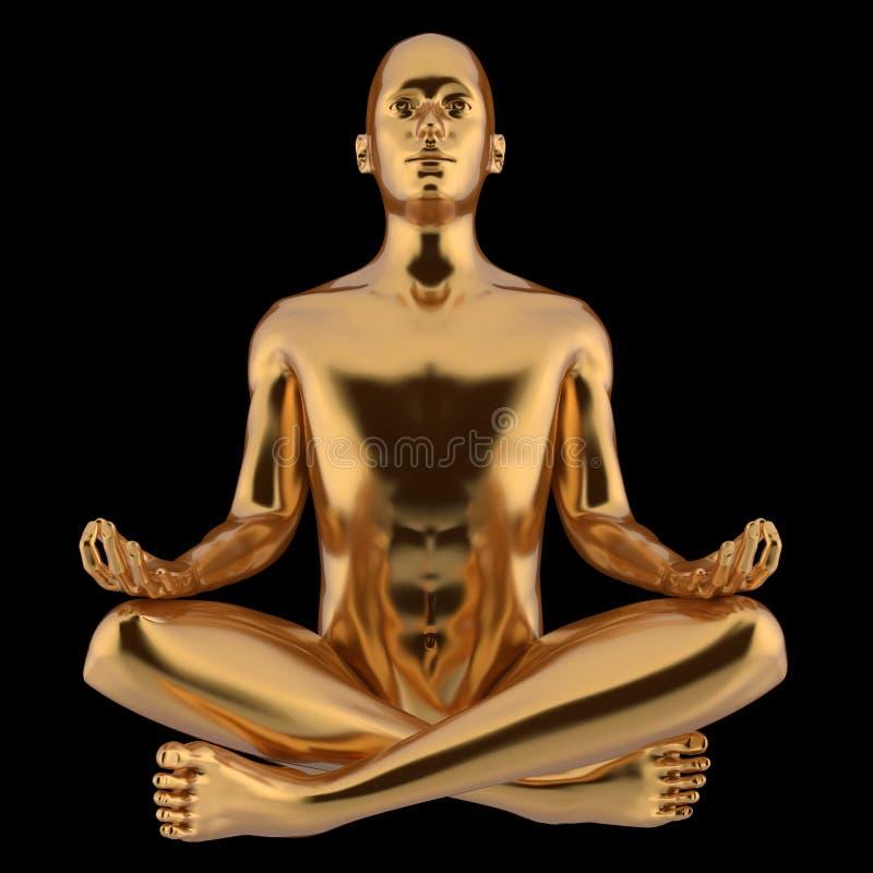 Guld- yogamanlotusblomma poserar teckenet stiliserad metallisk närbild vektor illustrationer