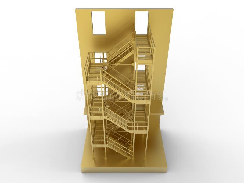 Guld- yttre lägenhettrappa stock illustrationer