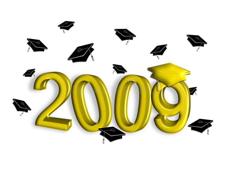 guldavläggande av examen 2009 stock illustrationer