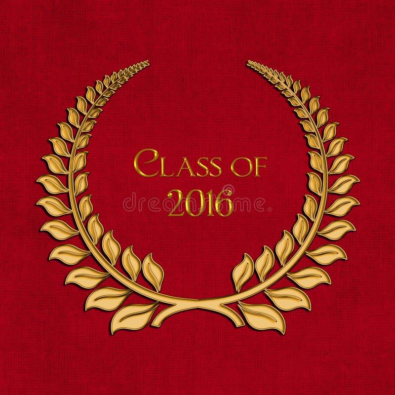 Guldavläggande av examenlager 2016 på rött stock illustrationer