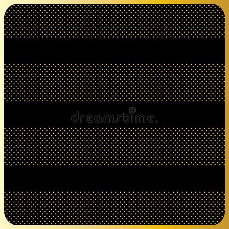 Guldband med prickar, svart bakgrund stock illustrationer