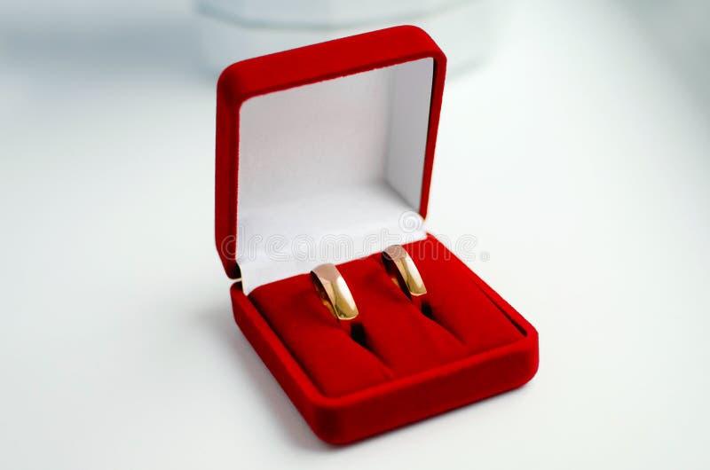 Guldbröllopcirklar ligger i en röd sammetask arkivfoto