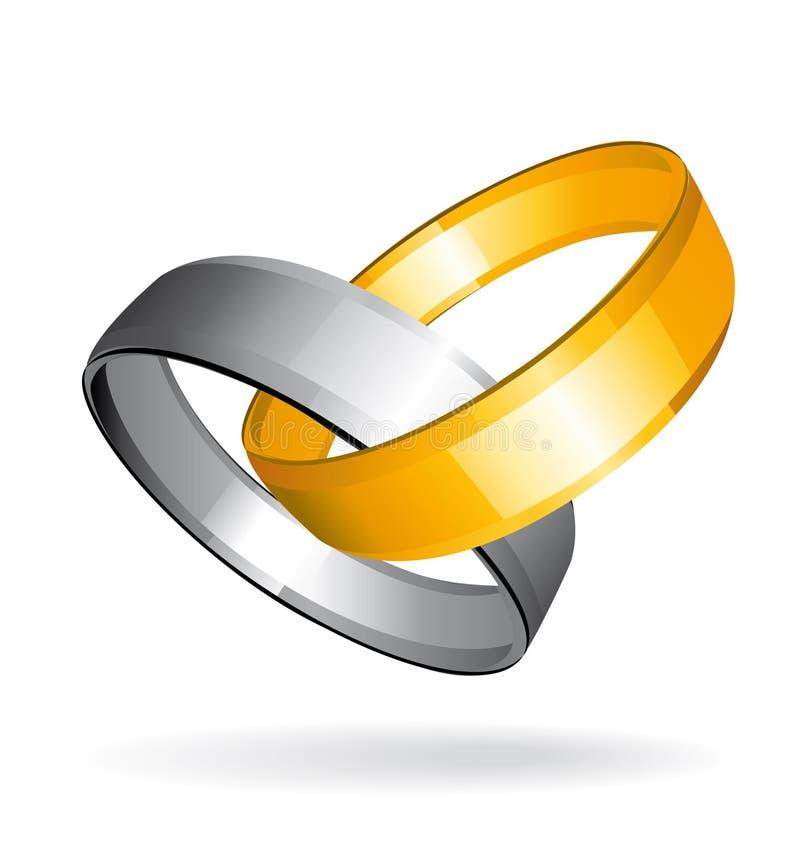 Guldcirkelsilver Två Som Gifta Sig Arkivfoton