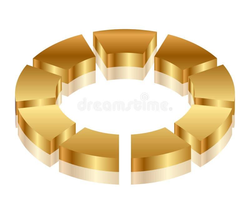Guldcirkuleringssymbol vektor illustrationer