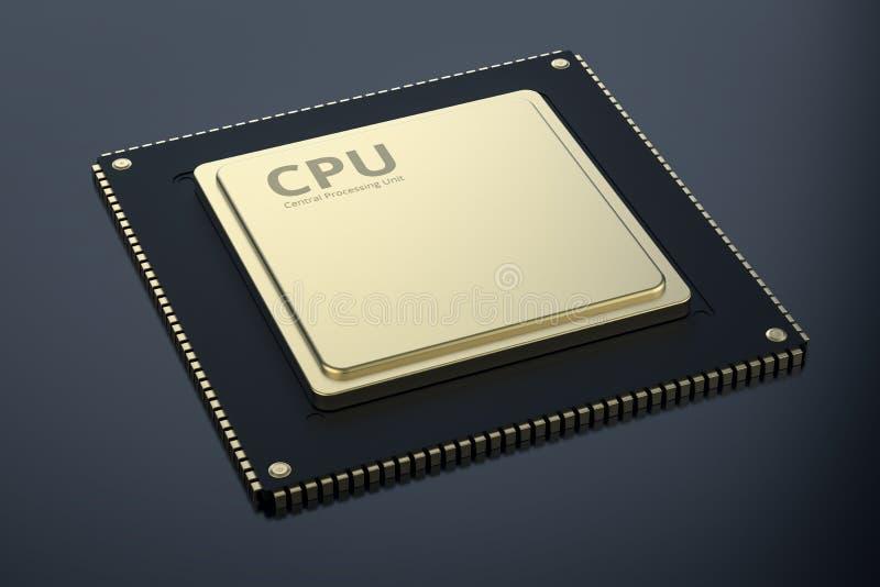 GuldCPU-chip vektor illustrationer