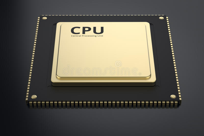 GuldCPU-chip royaltyfri illustrationer