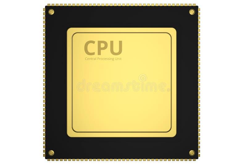 GuldCPU-chip stock illustrationer