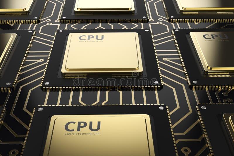GuldCPU-chiper i rad vektor illustrationer