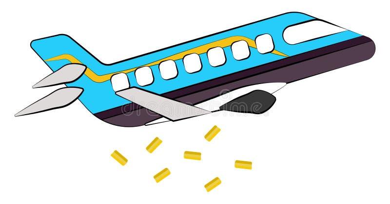 Gulden percelen die van de vector van het straalvliegtuig of kleurenillustratie vallen royalty-vrije illustratie