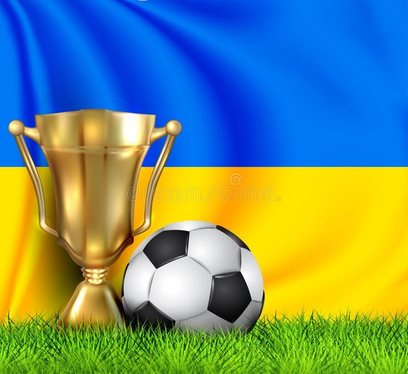 Gulden realistische winnares trofee- en voetbalbeker geïsoleerd van de nationale OEKRAÏNE-vlag Het nationale team is de winnaar v stock illustratie