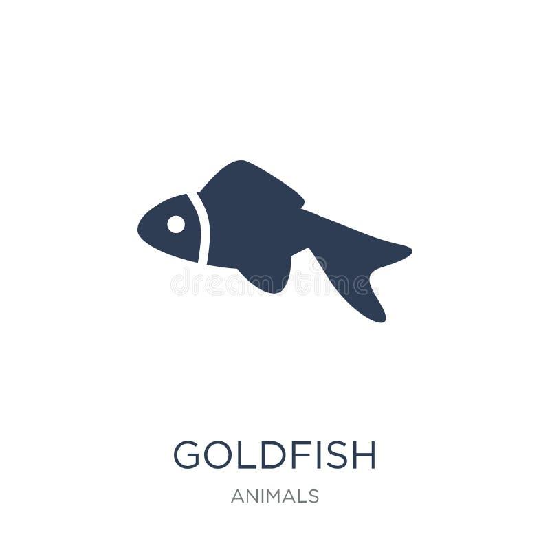 Guldfisksymbol Moderiktig plan vektorguldfisksymbol på den vita backgroen royaltyfri illustrationer