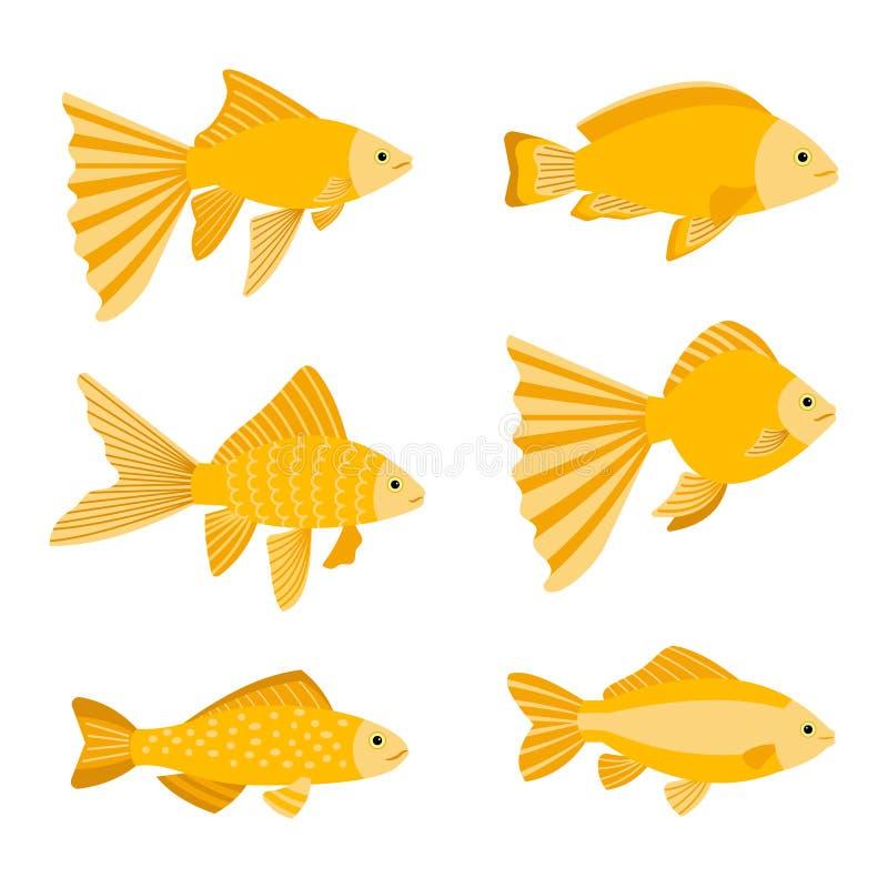 Guldfiskuppsättning som isoleras på vit bakgrund Gul guld fiskar symbolsvektorillustrationen stock illustrationer