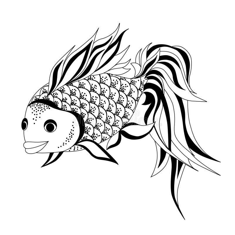 Guldfiskvektorteckning royaltyfri illustrationer
