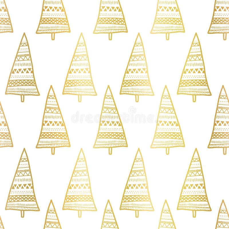Guldfolie - doodla julgranar, skarvlöst vektormönster Metalliska, blanka, gyllene Boho-stift på vit bakgrund stock illustrationer