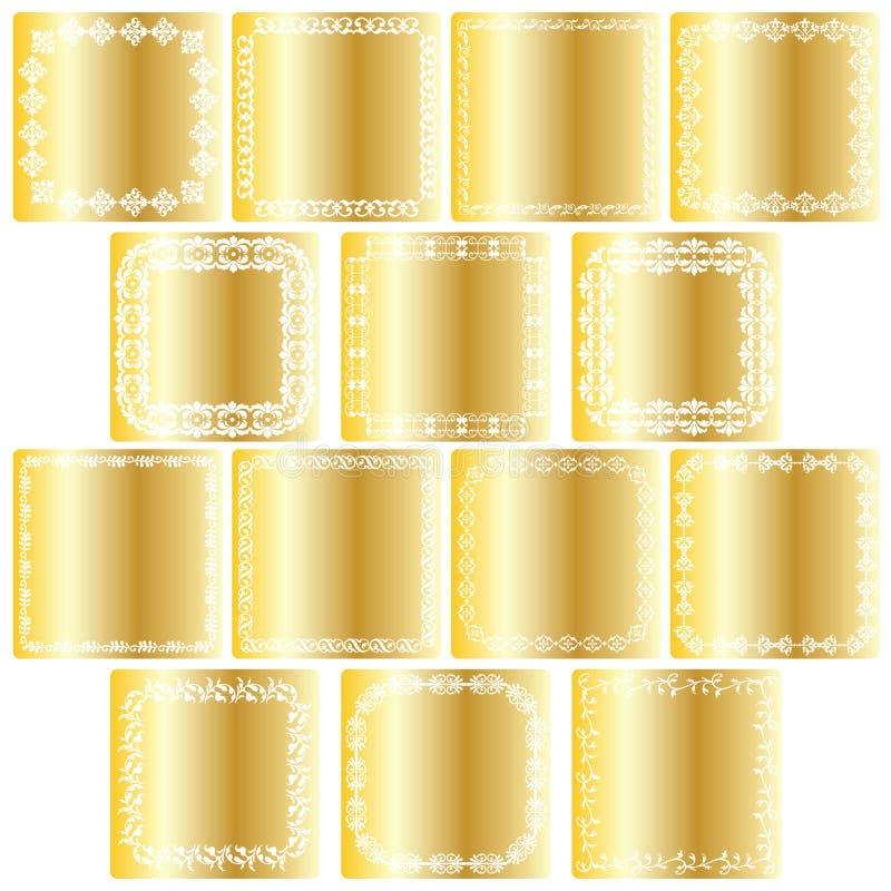 Guldfyrkantetiketter stock illustrationer