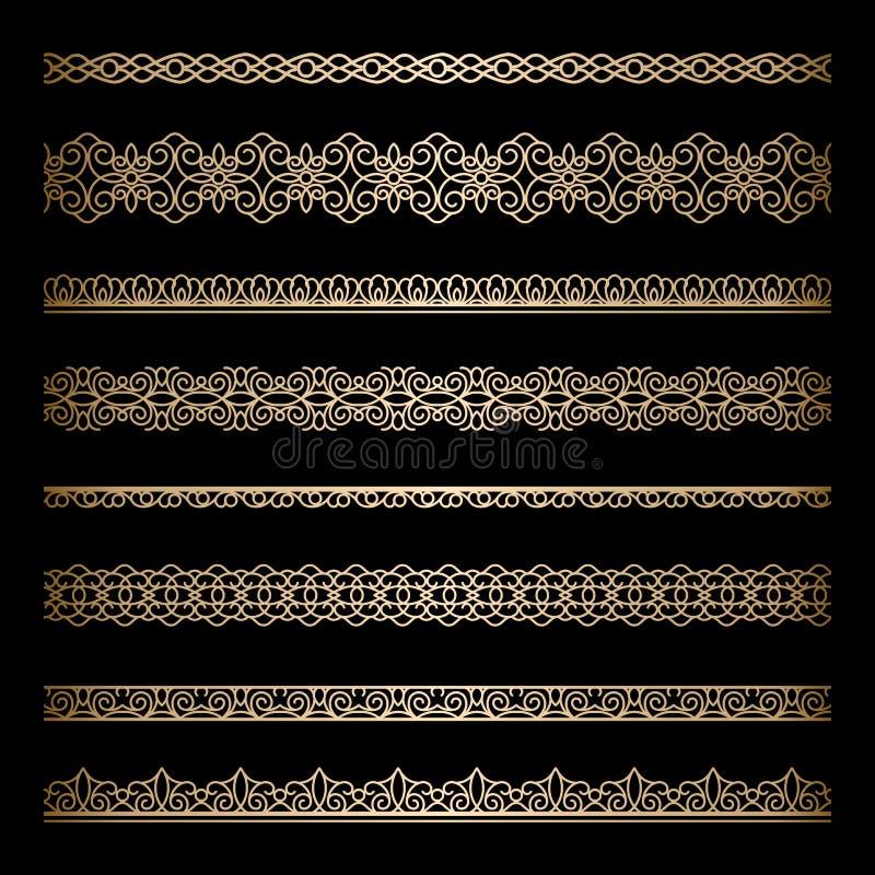 Guldgränser stock illustrationer