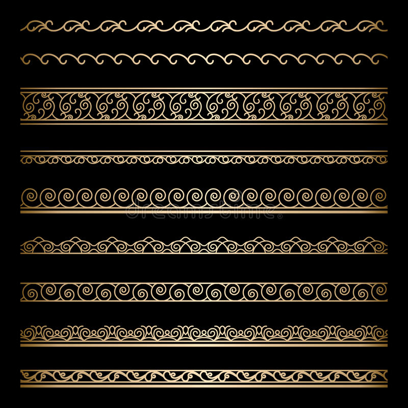 Guldgränser vektor illustrationer