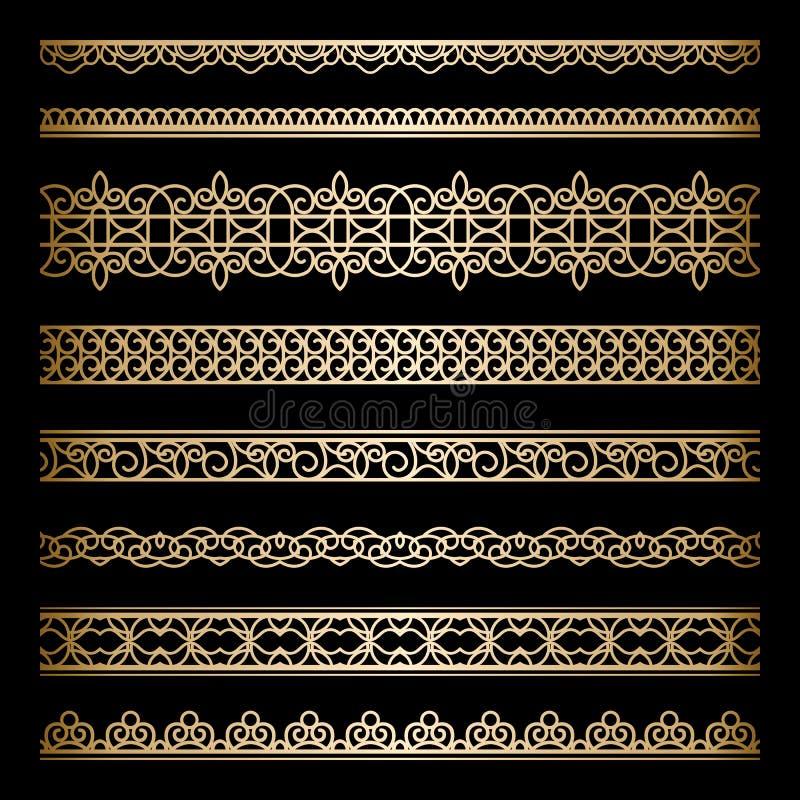 Guldgränsuppsättning royaltyfri illustrationer