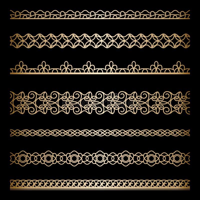 Guldgränsuppsättning stock illustrationer