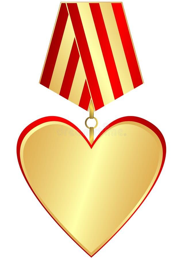 guldhjärtamedalj royaltyfri illustrationer