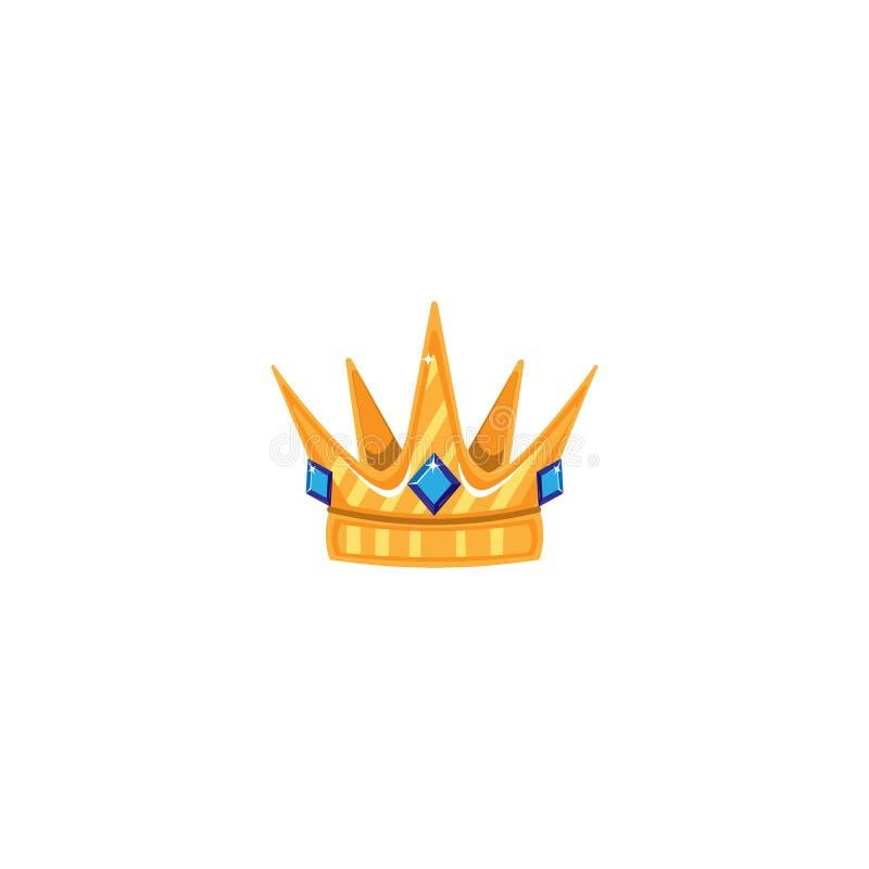Guldkrona med gems Symbolsobjektsymbol också vektor för coreldrawillustration Art Design Cartoon Isolated royaltyfri illustrationer