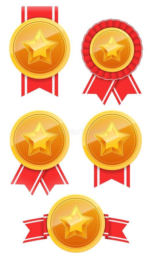 guldmedalj 3D med stjärnan och det röda bandet Vinnareutmärkelsesymbol Mest bra prima emblemuppsättning också vektor för coreldra royaltyfri illustrationer