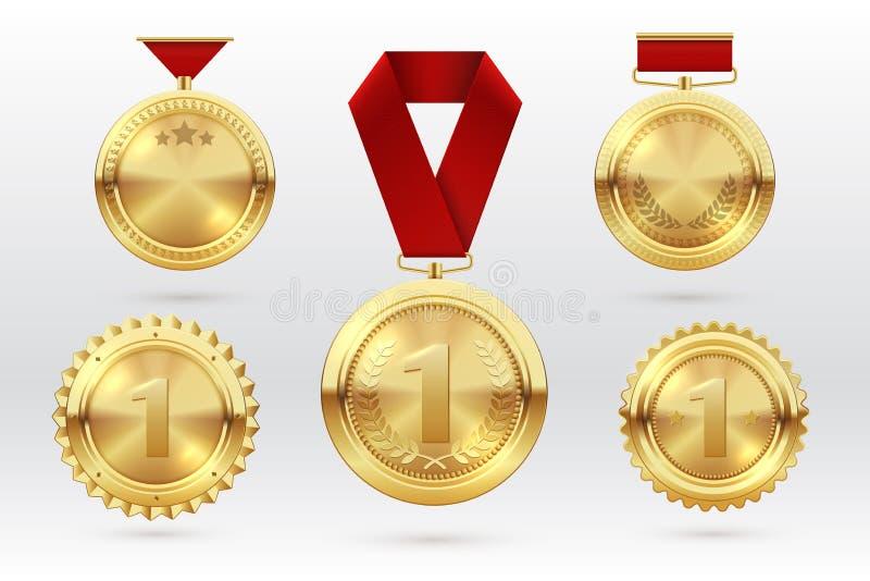 Guldmedalj Guld- medaljer för nummer 1 med röda utmärkelseband Första pris för placeringsvinnaretrofé vektor för set för tecknad  stock illustrationer