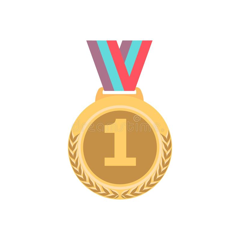 Guldmedalj med bandet Emblem för modigt ställe för utmärkelse för sport guld- 1st isolared på vit bakgrund vektor royaltyfri illustrationer