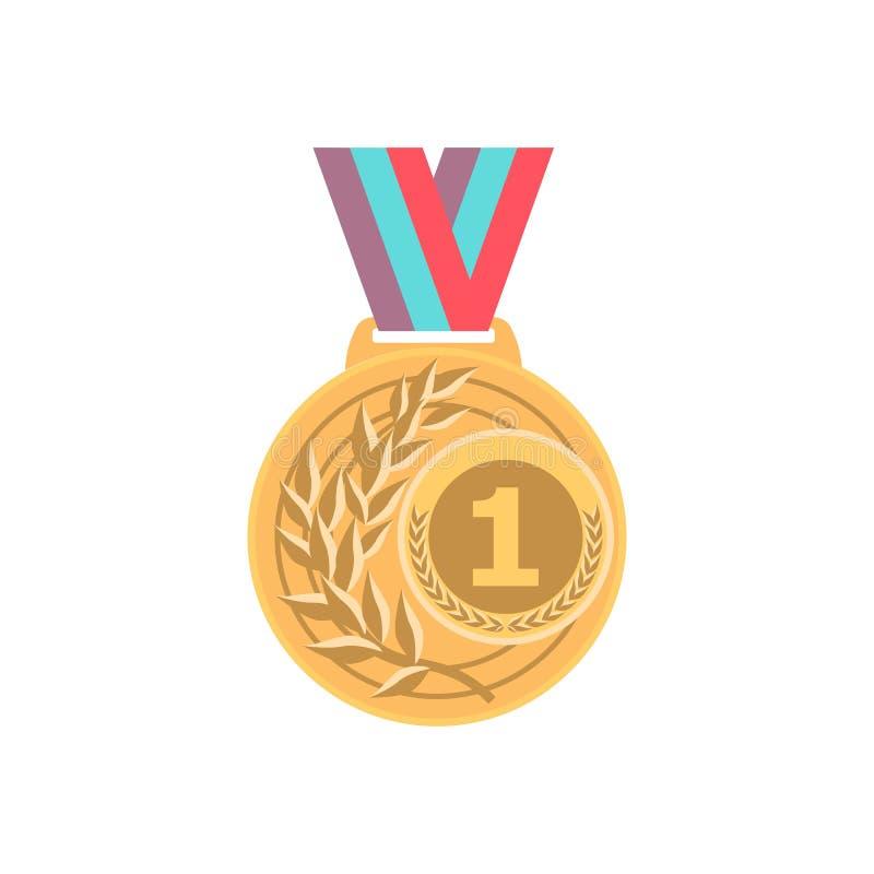 Guldmedalj med bandet Emblem för modigt ställe för utmärkelse för sport guld- 1st isolared på vit bakgrund vektor vektor illustrationer
