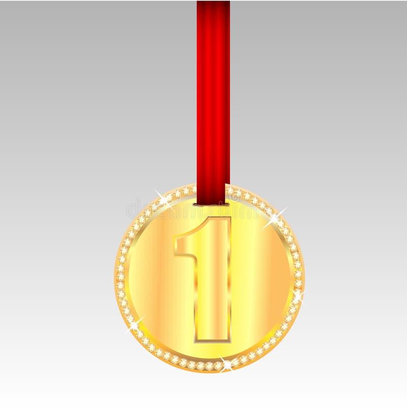 Guldmedalj med nummer ett royaltyfri illustrationer